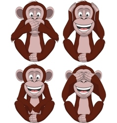 Set of four monkeys vector