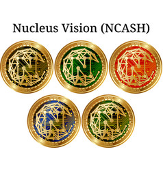Set of physical golden coin nucleus vision ncash vector