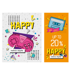 Set poster nineties retro style with icons vector