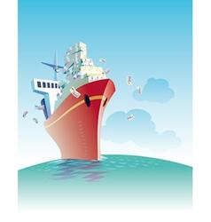 Ship of money vector