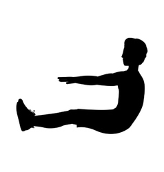 silhouette with man exercise abs vector image