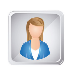 silver emblem technical support woman assistant vector image