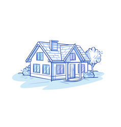 Sketch a private house vector