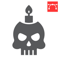 Skull with candle glyph icon halloween and scary vector