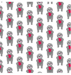 sloth pattern with red hearts vector image