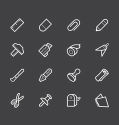 Stationery white icon set on black background vector