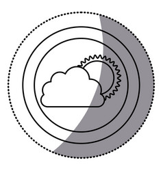 sticker monochrome circular frame with cloud and vector image