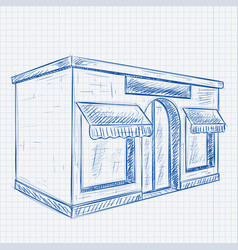 store front blue hand drawn sketch on lined paper vector image