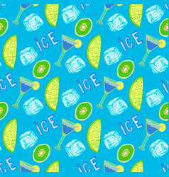 Summer cocktail seamless pattern hand-drawn ice vector