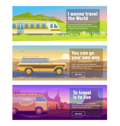 Travel for train car bus banner set mountain vector