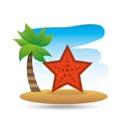 Tropical vacation beach sea starfish vector