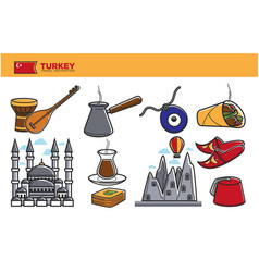 Turkey travel destination promotional poster with vector
