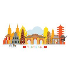 Vietnam architecture landmarks skyline vector