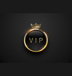 vip black label with round golden ring frame vector image