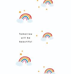 White rainbow template for social media story vector