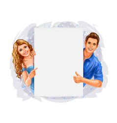 woman and man holding a poster on white background vector image