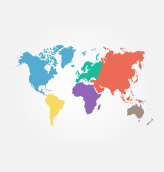 World map with continent flat color design vector