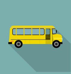 yellow kid school bus icon flat style vector image