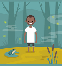 young black character stuck in the swamp flat vector image