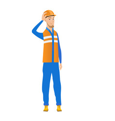 Young caucasian builder scratching head vector