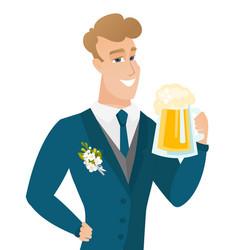 Young caucasian groom drinking beer vector