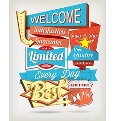 background with badges and labels vector image