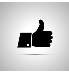 Black thumbs up icon with shadow vector image