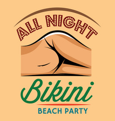 color retro style poster for beach party vector image