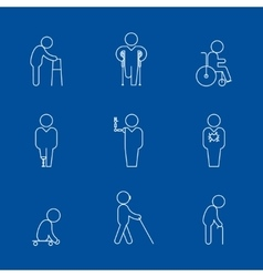 Disability thin line icons vector image