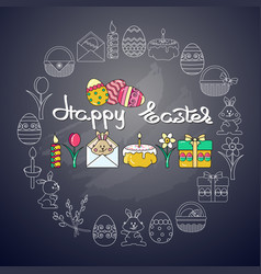 easter icon and handwritten word happy easter on vector image vector image