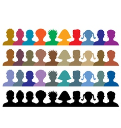 silhouettes of crowd vector image vector image