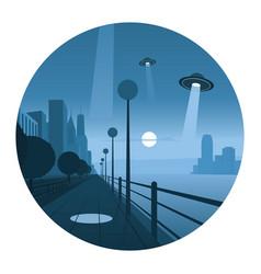alien invasion round icon vector image