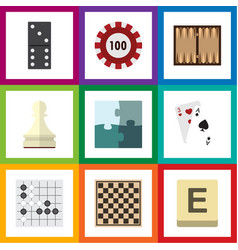 flat icon entertainment set of jigsaw pawn poker vector image vector image