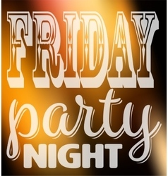 Friday party night quote square card with label vector