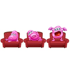Red chairs with pink monsters vector image