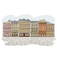 Antique European street Summer city landscape Pan vector image
