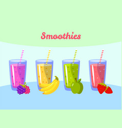 Cartoon smoothies berry banana apple and vector