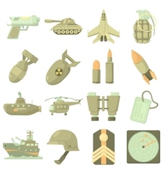 Military icons set cartoon style vector image