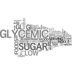 why low glycemic foods text word cloud concept vector image vector image