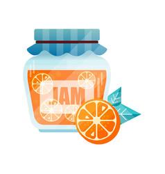 orange jam glass jar of fruit confiture vector image