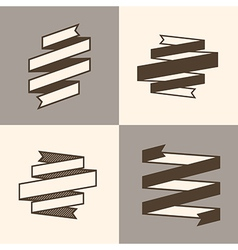 Retro ribbon banner design elements vector
