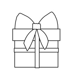 silhouette gift box with ribbon wrapping vector image vector image