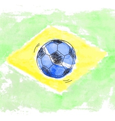 Soccer ball and watercolor flag of Brazil vector image