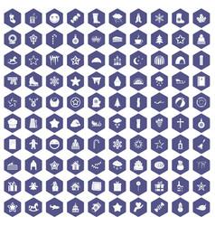 100 christmas icons hexagon purple vector
