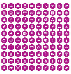 100 north america icons hexagon violet vector image