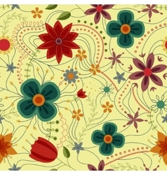 Abstract seamless pattern with flowers retro vector image
