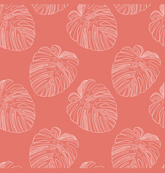 Abstract tropical monstera leaf seamless pattern vector