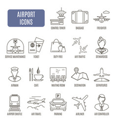 airport icons set of pictograms vector image