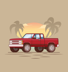 American red modern pickup truck concept vector