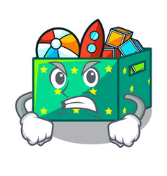 Angry kids toys in the cartoon box vector